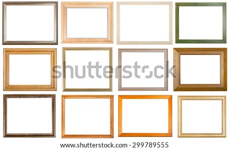 set of 12 pcs various wooden picture frames with cut out blank space isolated on white background - stock photo