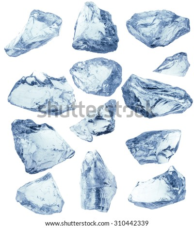 Set of peaces of crushed ice. Clipping path included. - stock photo