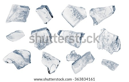 Set of peaces of crushed ice. Clipping path included.