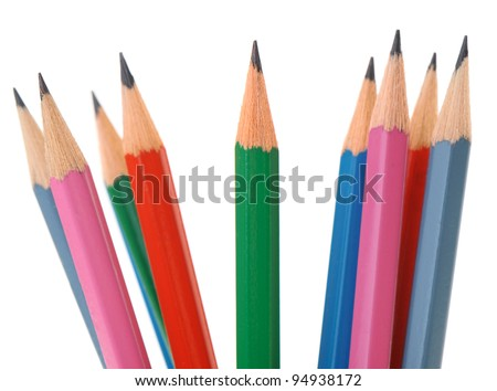 Set of pencils different in colour. It is isolated on a white background - stock photo