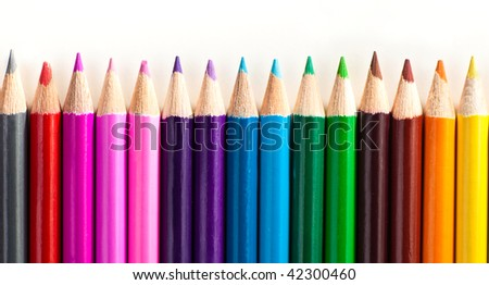 Set of pencils of different colors on white background