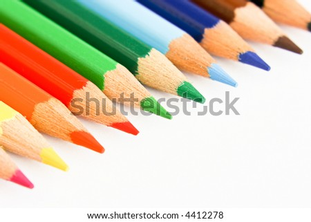 set of pencils on a white paper