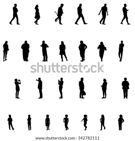 Set of People. Children, Adults, Seniors. Illustration.