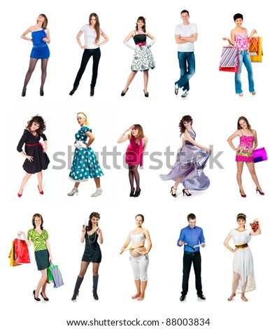 set of people isolated on a white background - stock photo