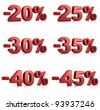 set of percent red text over a white background - stock photo