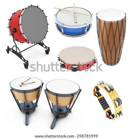 Set of percussion instruments isolated on white background. 3d illustration. Drums on a white. - stock photo
