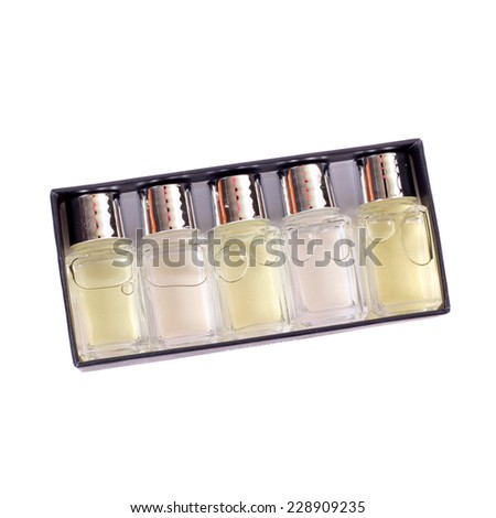 set of perfumes isolated on white - stock photo