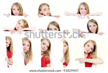 Set of photographs with a woman behind white paper isolated on white - stock photo
