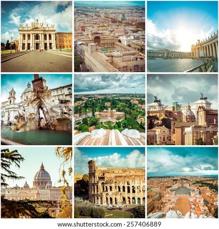 Set of photos from Rome. Italy - stock photo