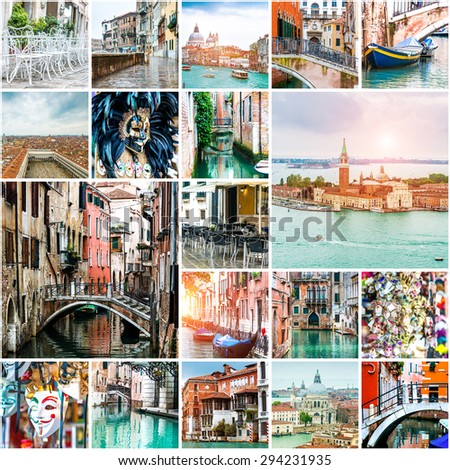 Set of photos from Venice. Italy - stock photo