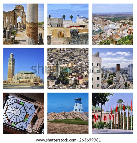 Set of photos - Moroccan Architecture - Modern Casablanca, Roman ruins Volubilis, holy town Moulay Idriss, Marrakesh building, Riad interior, Hassan II Mosque, fortified city el Jadida, Fez medina - stock photo