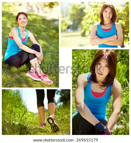 set of photos. portrait of sporty woman on a grass background. outdoor sports. healthy sport lifestyle. runner feet closeup. athlete in the park. running shoes. jogging - stock photo