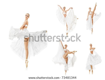 Set of photos smiling woman dancing classic ballet isolated over white background - stock photo