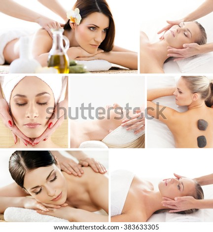 Set of photos with beautiful women having different types of massage. - stock photo