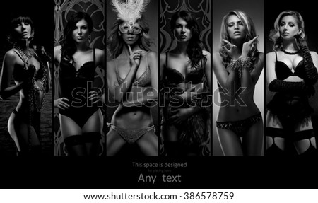 Set of photos with young and sexy girls in erotic underwear with copy space. Lingerie collection. - stock photo