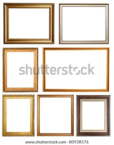 Set of 7 picture frames. Isolated over white background with clipping path - stock photo