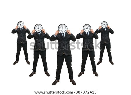 set of 5 picture of Asian businessman holding the clock to close his face on white background, include clipping path - stock photo