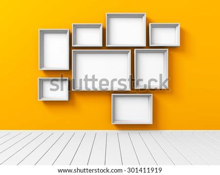 Set Of Picture Photoframe On Orange Wall. 3d Render Illustration - stock photo