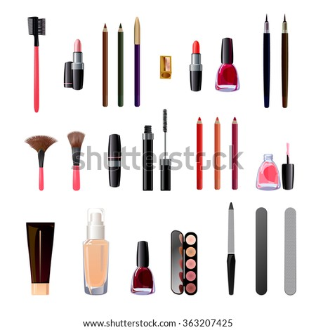 set of pictured images on the theme of cosmetics, beauty, personal care