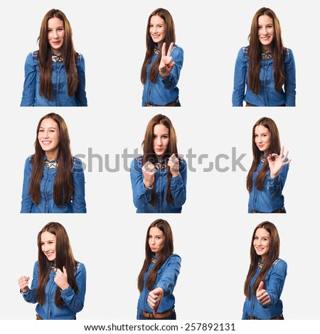 Set of 9 pictures of a young woman - stock photo