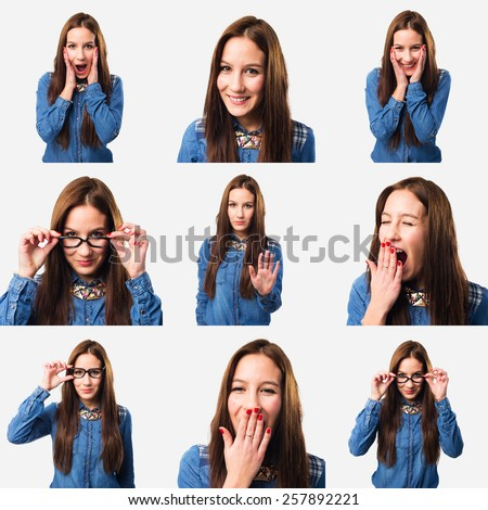 Set of 9 pictures of a young woman