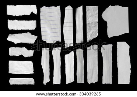 Set of Piece of torn paper on black. Copy space - stock photo