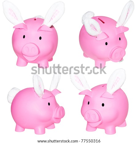 Set of 4 piggy banks wearing Easter bunny ears  isolated  on white. - stock photo