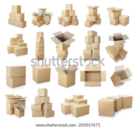 set of piles of cardboard boxes on a white background - stock photo