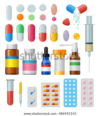 Set of  pills and capsules. Icons of medicament. Tablets in blisters: painkillers, antibiotics, vitamins and aspirin. Pharmacy and drug symbols. Medical illustration isolated on white background.