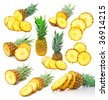 set of pineapple images - stock photo