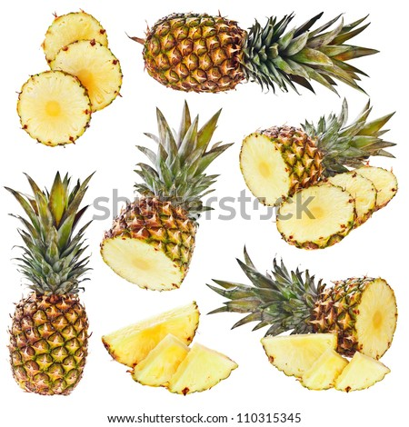 Set of pineapple isolated on white - stock photo