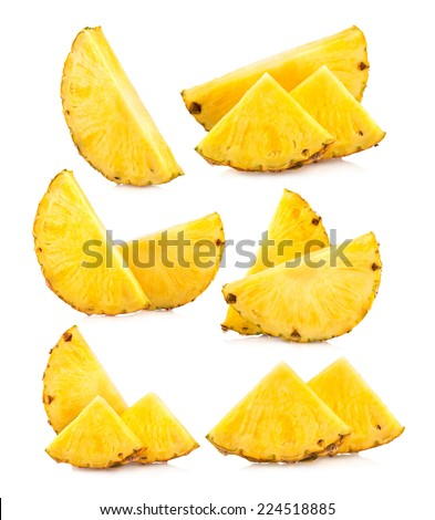 set of pineapple slices images - stock photo