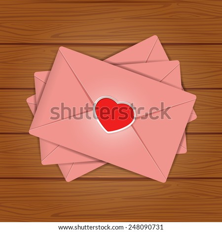 Set of pink envelopes with red Valentines heart on wooden background, illustration. - stock photo