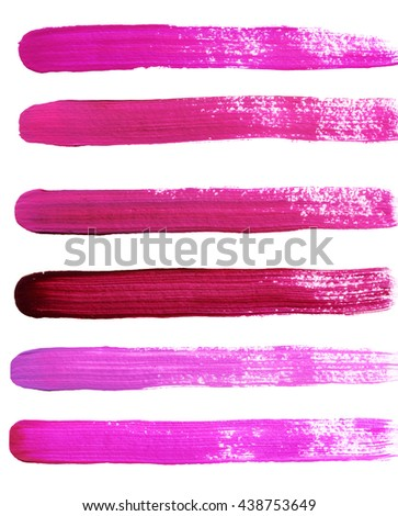 Set of pink hand painted strokes - stock photo