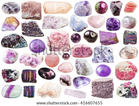 set of pink natural mineral stones and gemstones isolated on white background