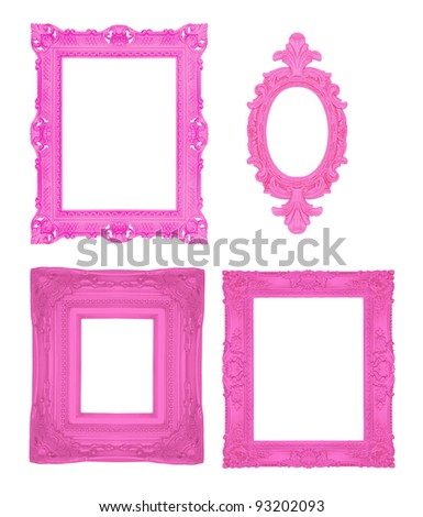 Set of pink ornamental frames - stock photo