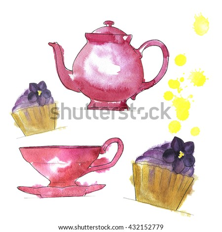 Set of pink teapot, pink teacup and lavender cupcakes on white background with yellow backdrops. Hand drawn watercolor illustration.