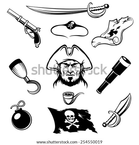 Set of pirate icons. Isolated on white background. - stock photo