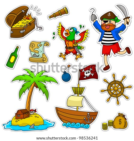 set of pirate items (raster version of vector illustration) - stock photo