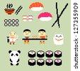 Set of pixel art icons on japanese food style, raster version - stock photo