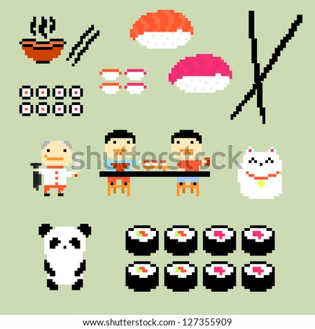Set of pixel art icons on japanese food style, raster version - stock photo