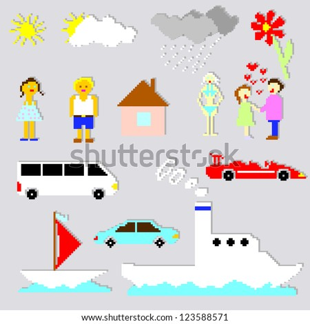 Set of pixel elements and cartoons - stock photo