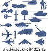 Set of planes of tanks of guns and military technology - stock photo