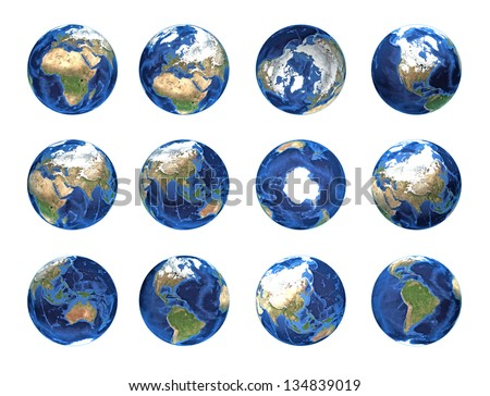 Set of planet earth, globe from different angles - Elements of this image furnished by NASA Some components of this image are provided courtesy of NASA, and have been found at visibleearth.nasa.gov - stock photo