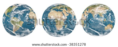 Set of planet earth on White background - Ready for your artwork and creation