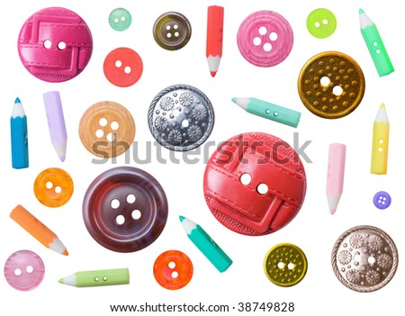 Set of plastic ancient color different buttons isolated on a white background