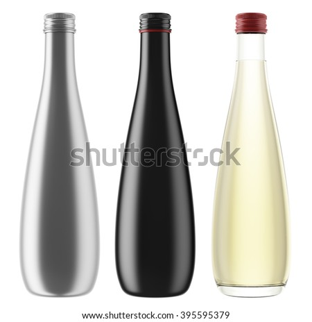 Set of plastic, metallic, ceramic or glass bottles isolated on white background. 3D Mock up for your design. Beer, cosmetics, beverage, lemonade, soda, liquor, alcohol, wine. - stock photo