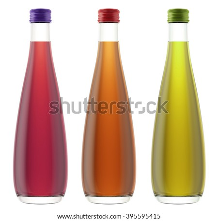 Set of plastic or glass bottles isolated on white background. 3D Mock up for your design. Beer, shampoo, conditioner, shower gel, cosmetics, beverage, lemonade, soda, juice, liquor, syrup, wine.