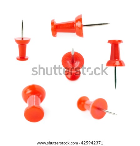 Set of Plastic red pin isolated over the white background - stock photo