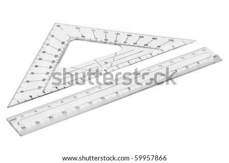 Set of plastic transparent rulers. Isolated on white background with clipping path. - stock photo